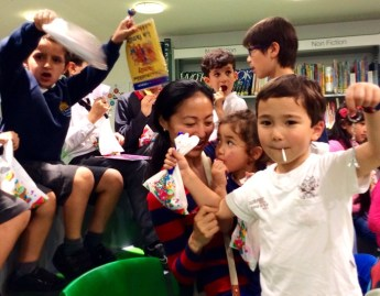 Very excited children at the French Culture Day at Church Street Library, July 2016